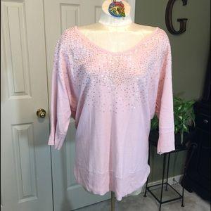 Elle Pink V-Neck Sweater 3/4 Length Sleeves Size L